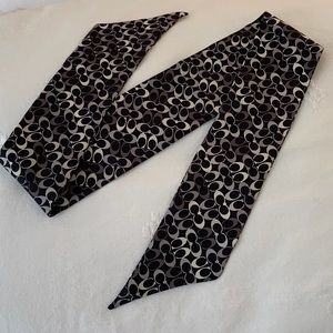 Coach Black & White Signature Silk Ponytail Scarf
